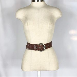 """Fossil Brown Leather Cut Out Belt 1.5"""" Wide"""